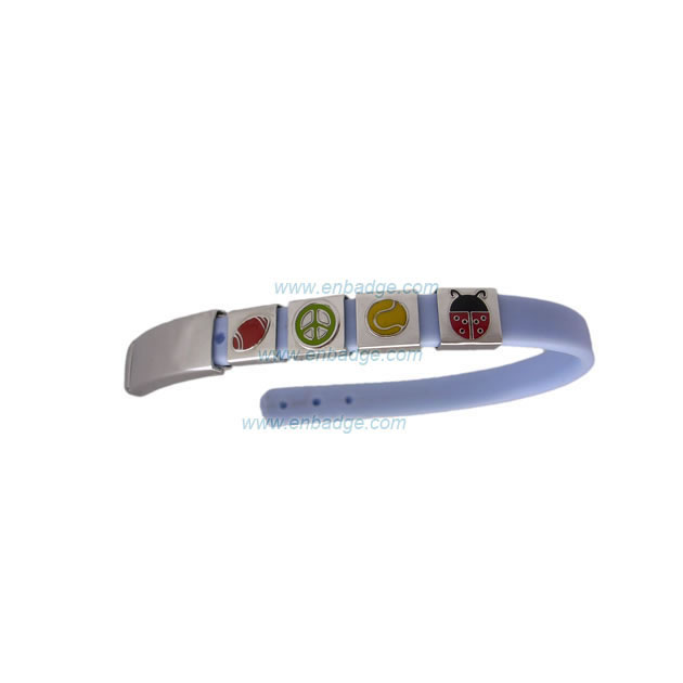 PVC Wristband with Stainless Steel Charm